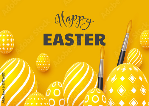 Happy Easter holiday background. 3d realistic eggs with brushes on yellow background. Vector illustration. © ludmila_m