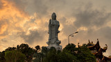 Ho quoc pagoda in phu Quoc island. Monument of Lady buddha in a beautiful sunset in Vietnam