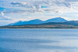 View of the Sandnessundet strait from Hakoya - the 3.69-square-kilometre island located between the islands Kvaloya and Tromsoya in Troms county, Norway.