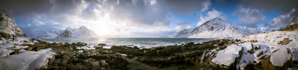 Panorama   seashore and mountains in Norway © science photo