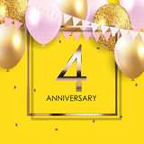 Template 4 Years Anniversary Background with Balloons Vector Illustration