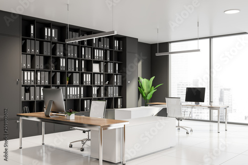 Panoramic manager office corner with bookcase © denisismagilov