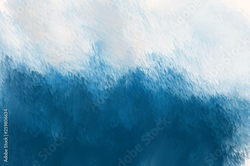 Scenic view of the wave. Artistic textural blue background. Digital painting. © LanaPo