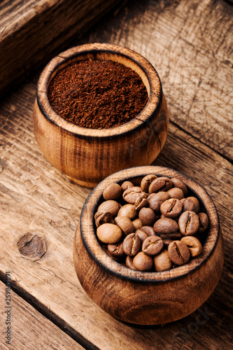 Coffee beans and grounds - 259849891