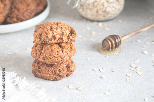 Homemade oatmeal cookies with honey. Healthy Food Snack Concept. © Ivanna Pavliuk