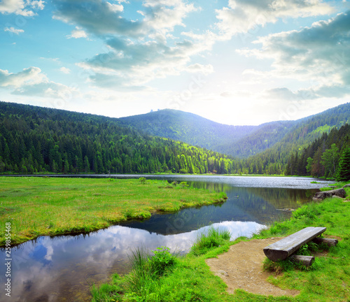Kleiner Arbersee lake in the National park Bavarian forest,Germany. Beautiful spring landscape at sunset. - 259855468