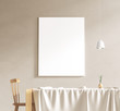 Mock up poster frame in scandinavian style interior. Minimalist interior design. 3D illustration. - 259857804