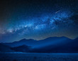 Milky way over Castelluccio at night, Umbria, Italy