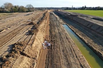 Bau einer Straße Baustelle aus der Luft