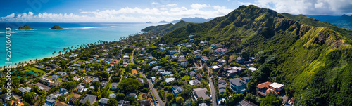 Aerial panorama of the East Coast of Oahu, Hawaii - 259867813