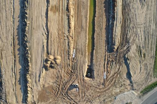 Bau einer Straße Baustelle aus der Luft © DrohnenflugHannover