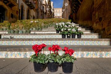 Scalinata di Santa Maria del Monte (Staircase of Santa Maria del Monte). Catlagirone Sicily Italy
