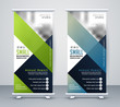 green and blue business rollup standee banner - 259875424
