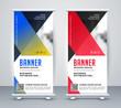 geometric rollup modern business banner design - 259875467