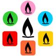 Set of flat icons with fire sign. Vector graphic illustration.