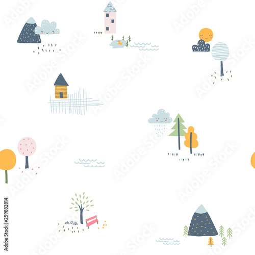 fototapeta na ścianę Childish seamless pattern with little houses, trees and mountains