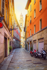 Old colorful narrow street in Parma, Emilia-Romagna, Italy. Architecture and lane in Parma.