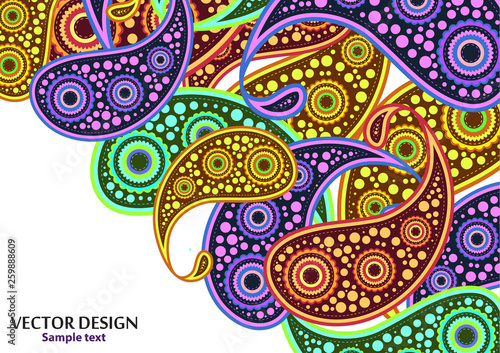 Vertical paisley pattern. Packing print. Floral ornament, for fabric, textile, cards, wrapping paper, wallpaper pattern. Ornamental border. Decorative motif. Vector illustration © Irina