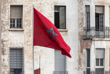 Moroccan flag in a Street of Casablanca in Morocco