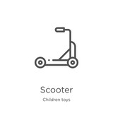 scooter icon vector from children toys collection. Thin line scooter outline icon vector illustration. Outline, thin line scooter icon for website design and mobile, app development