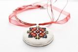 Handmade Cross Stitch Necklace Red Flower