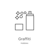 graffiti icon vector from hobbies collection. Thin line graffiti outline icon vector illustration. Outline, thin line graffiti icon for website design and mobile, app development