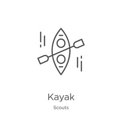 kayak icon vector from scouts collection. Thin line kayak outline icon vector illustration. Outline, thin line kayak icon for website design and mobile, app development