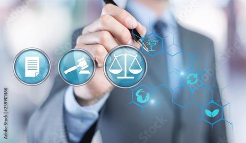 Leinwandbild Motiv Law labour employment justice advocate amendment attorney