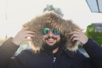 winter man bearded portraits