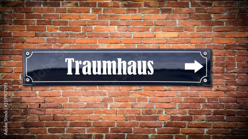 canvas print picture Schild 404 - Traumhaus