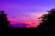 Leinwandbild Motiv sunset beautiful colorful landscape in blue sky evening nature twilight time