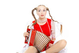 Pretty young sad woman  with ridiculous  plaits in russian folk costume plays an accordion at white background, isolated