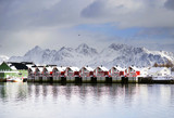 View to the harbor of Svolvaer resort in winter time, Lofoten Archipelago, Norway, Europe