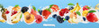 Milk splash. Yogurt with fruits and berries. Strawberry, raspberry, banana, peach, apricot, blackberry, blueberry, pineapple, mango, oat. 3d vector realistic set