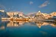 Leinwanddruck Bild - Beautiful Norway, the Lofoten islands, the village of Sakrisoy