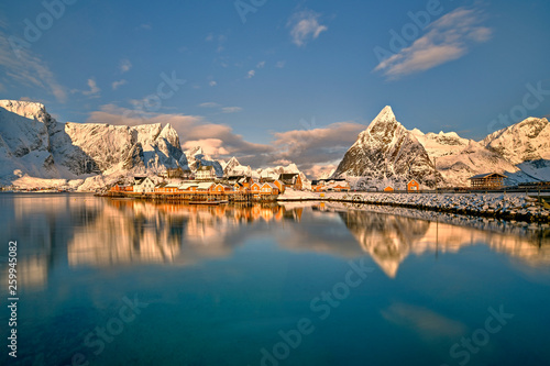 Leinwandbild Motiv Beautiful Norway, the Lofoten islands, the village of Sakrisoy