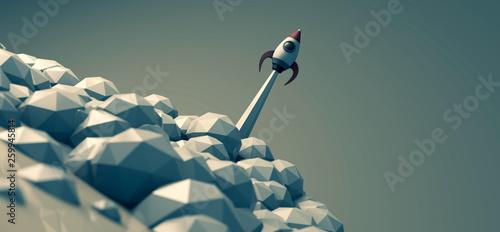 Rakete beim Start - Konzept Startup, Start-Up oder Karriere