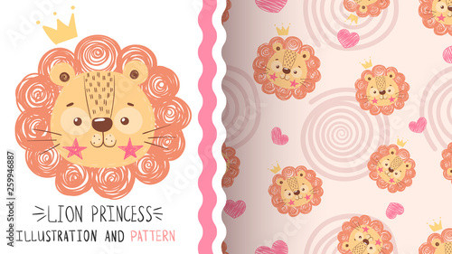 Cute baby lion - seamless pattern. © HandDraw