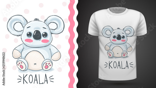 Cute koala - idea for print t-shirt. © HandDraw
