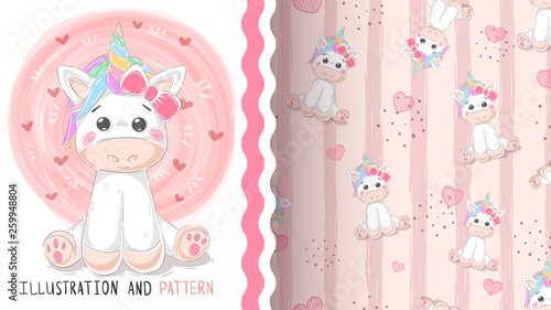 Cute magic unicorn - seamless pattern © HandDraw