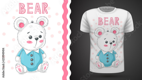 Teddy cute bear - idea for print t-shirt © HandDraw