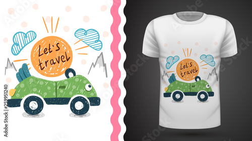 Pretty travel - idea for print t-shirt © HandDraw