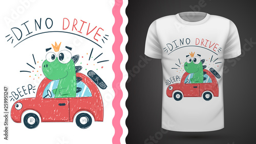 Cute dino with car - idea for print t-shirt © HandDraw