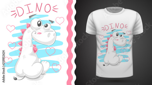 Cute teddy dinosaur - idea for print t-shirt. © HandDraw