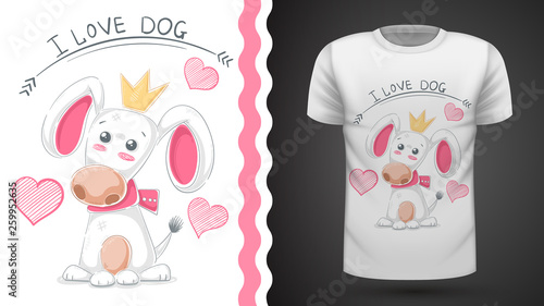 Cute dog, puppy - idea print t-shirt © HandDraw