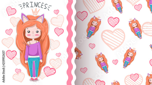 Cute cartoon girl - seamless pattern © HandDraw