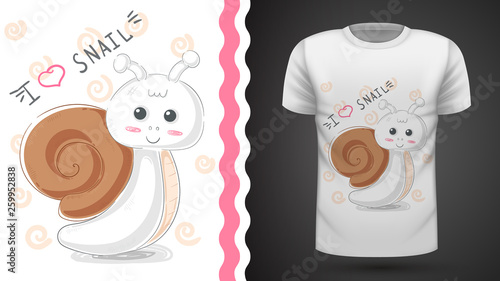 Cute snail - idea for print t-shirt © HandDraw