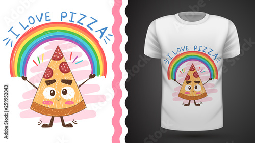 Cute pizza - idea for print t-shirt © HandDraw