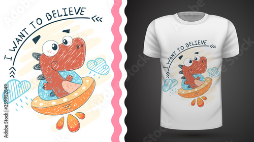 Dino and ufo - idea for print t-shirt © HandDraw
