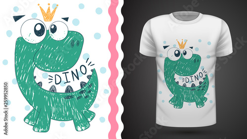 Cute princess dinosaur - idea for print t-shirt. © HandDraw